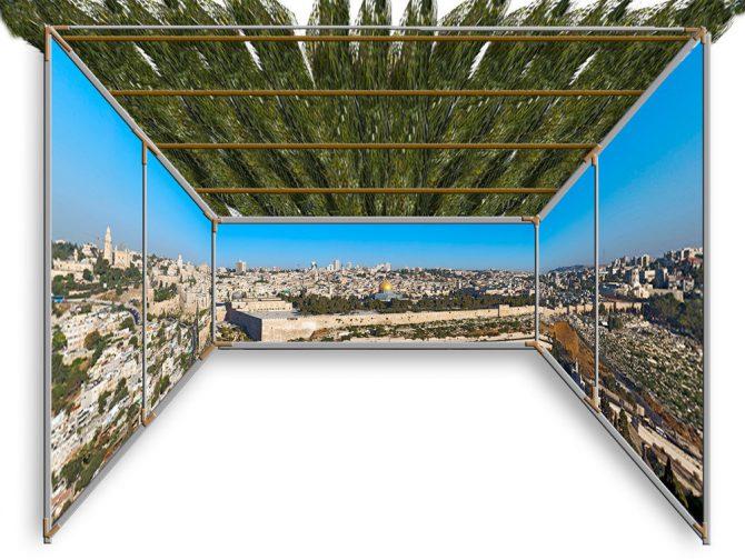 Jerusalem Skyline Panoramic Sukkah Kit