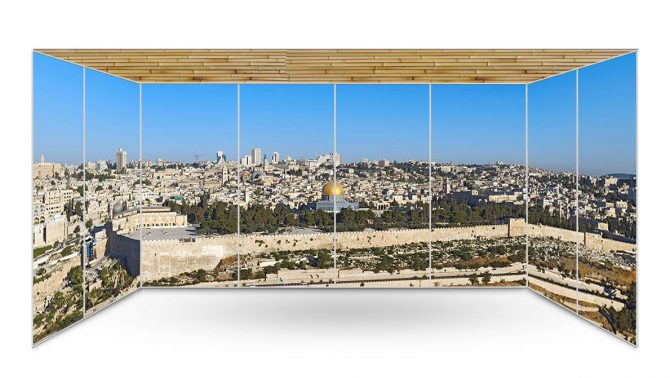Jerusalem Old City Temple Mount Panoramic Sukkah Wallpaper - sukkah360.com