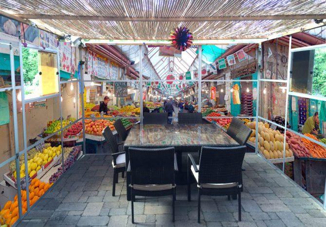 The Shuk Machaneh Yehudah Panoramic Sukkah Wallpaper - sukkah360.com