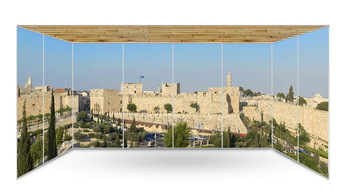 Jerusalem Old City Walls Panoramic Sukkah Wallpaper - sukkah360.com