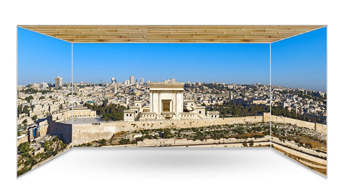 Jerusalem Skyline with Beit HaMikdash Sukkah Kit