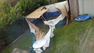 Storm-Tossed Sukkah. Photo Credit: Rabbi Eli and Rivka Magzimof